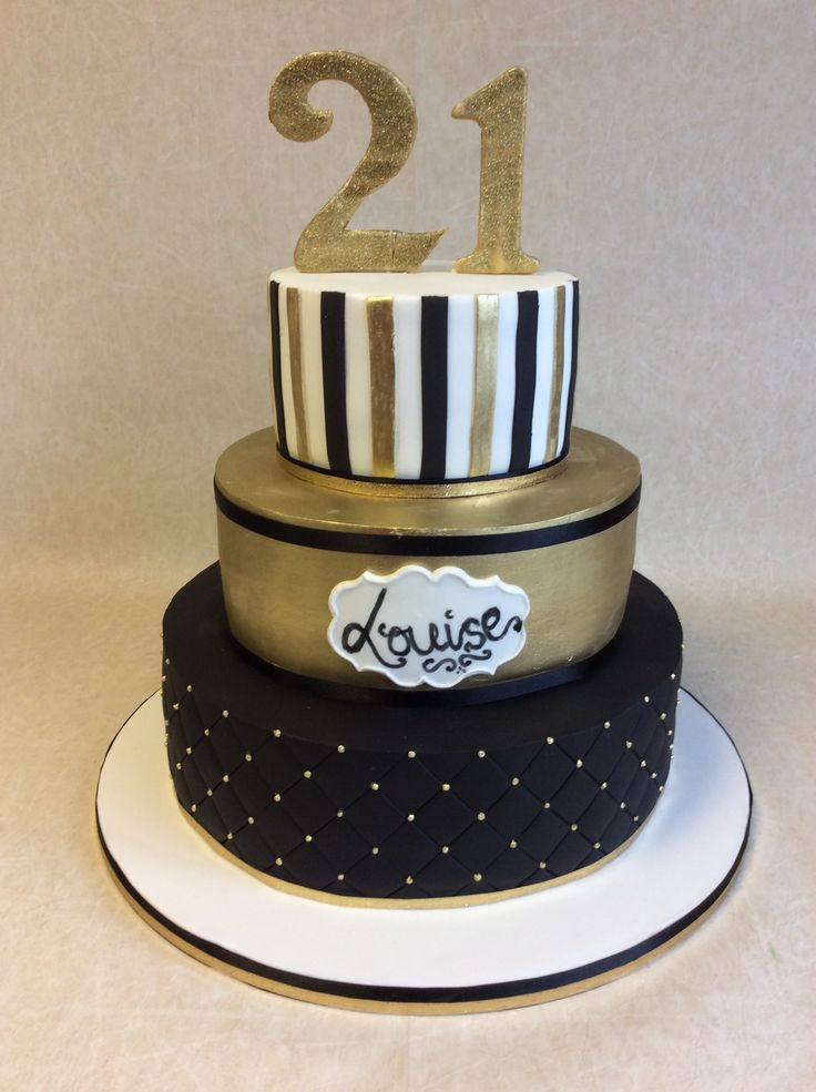 Black, white, and silver 21st Birthday Cake | Aggie'-s Sweets ...