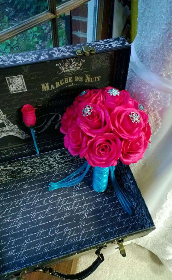 Hot Pink Rose Malibu Blue Brooch Bouquet with by SilkFlowersByJean