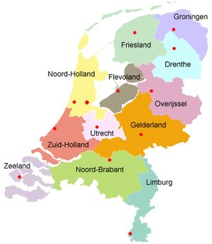 Provincies van Nederland - inwoners en vlag Provinces of Holland, inhabitants and flags