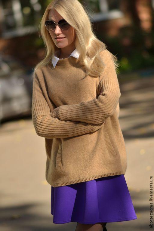 Купить Свитер-пончо Стильный Город - бежевый, свитер вязаный, пончо вязаное, вязание на заказ