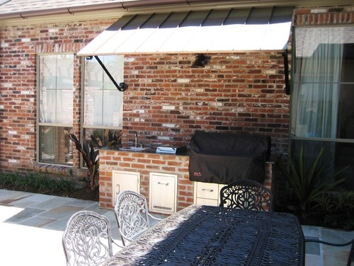 Backyard Grilling Station Brick Metal Awning Patio Deck