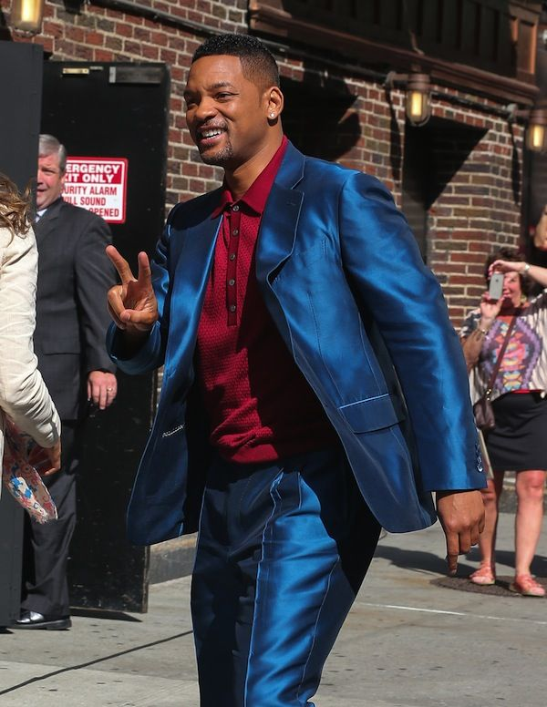 Will Smith's David Letterman Show Blue Shiny Suit | Fashion Blog