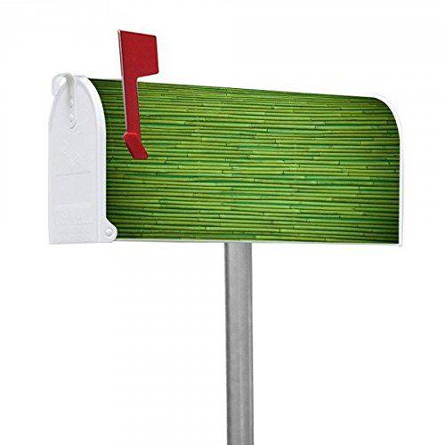 banjado - US Mailbox 17x22x51cm amerikanischer Briefkasten mit silber lackiertem Ständer und Motiv Bambus Grün