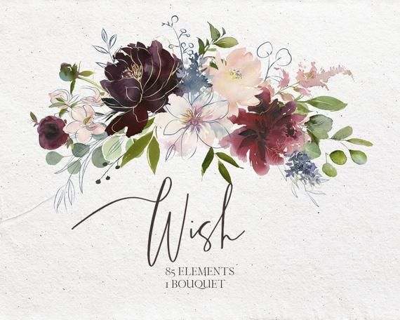 Wish Bordo Navy Watercolor Floral Clipart Burgundy Red Pink Dusty Blue Flowers Png Elements Bouquet Wedding Clip Art Wine Colors Indigo Floral Watercolor Indigo Watercolor Floral Watercolor Illustration