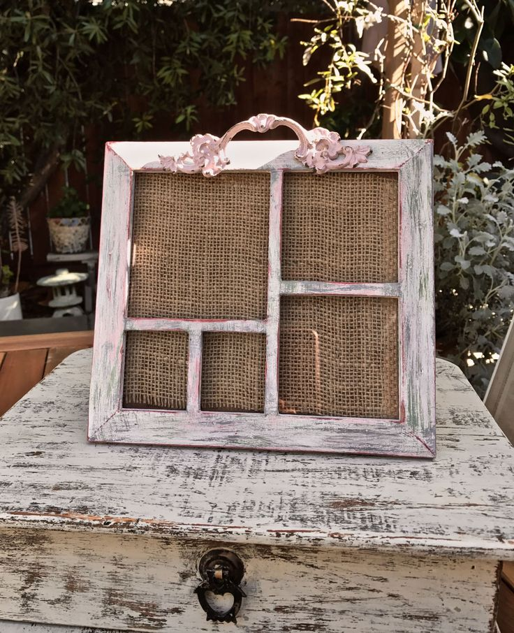 Multiple Picture Frame/5 Photos/Recycle Wood/Shabby Chic/Mothers Day Gift/Distressed Painted Pink White/Vintage Ornate Painted Drawer Pull by PippinPost on Etsy