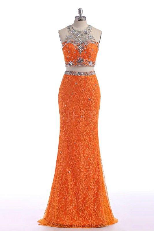 Mermaid Scoop Beaded Bodice Neckline Orange Long Lace Two Piece Prom Dress