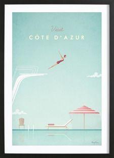 Côte d'Azur - Henry Rivers - Affiche encadrée - bois