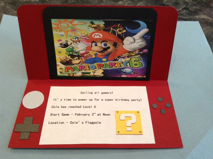 Mario bros invitation