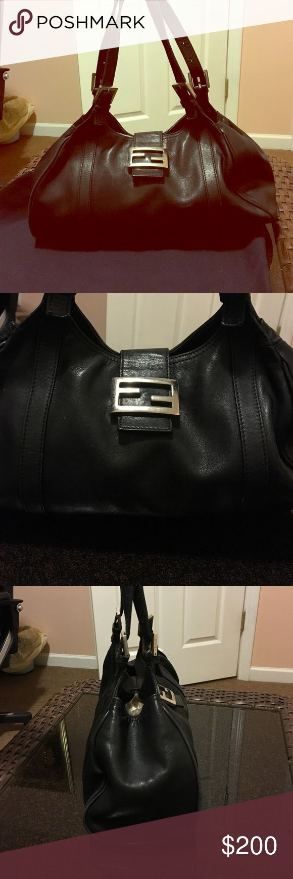 Fendi Hobo Shoulder Bag Authentic black leather fendi shoulder bag in good condition. Beautiful soft leather with a silver buckle. Fendi Bags Shoulder Bags