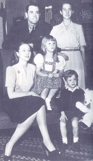"""Pictured above is the family of Henry Fonda and his second wife, Frances Ford Seymour (seated).  The children are Frances """"Pan"""" Brokaw (the oldest, standing), Frances Ford Seymour's daughter from a previous marriage to George Tuttle Brokaw.  The younger children are Jane and Peter Fonda."""