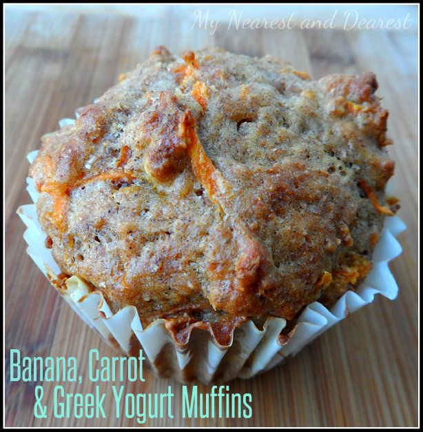 Banana, Carrot, and Greek Yogurt Muffins from My Nearest and Dearest blog. A healthy breakfast or snack for adults and kids. Also perfect for young kids to help make.