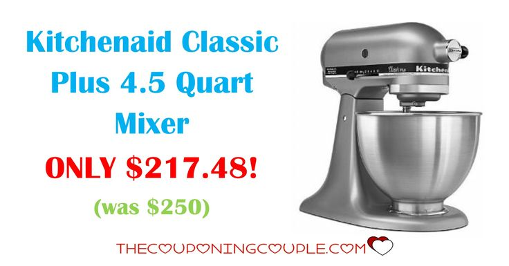 AWESOME DEAL on the Kitchenaid Classic Plus 4.5 Quart Mixer for ONLY $217.48 (was $250)! Hurry over to check this mixer out!  Click the link below to get all of the details ► http://www.thecouponingcouple.com/kitchenaid-classic-plus-4-5-quart-mixer/ #Coupons #Couponing #CouponCommunity  Visit us at http://www.thecouponingcouple.com for more great posts!