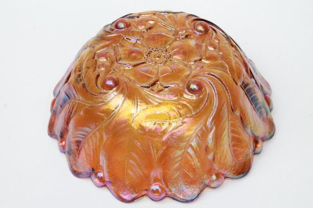 Indiana Glass Amber Marigold Carnival Sunflower Bowl