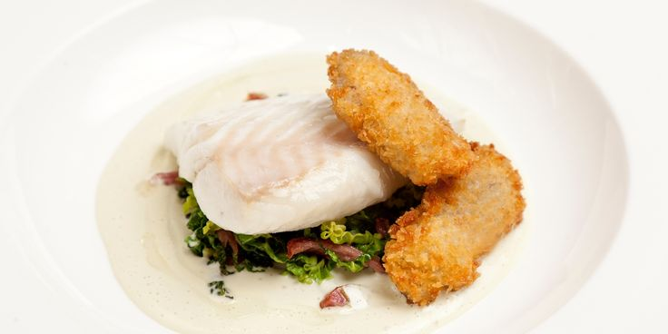 Pete Bigg's turbot recipe is paired with crispy oysters and a cucumber and oyster sauce in this elegant seafood dish