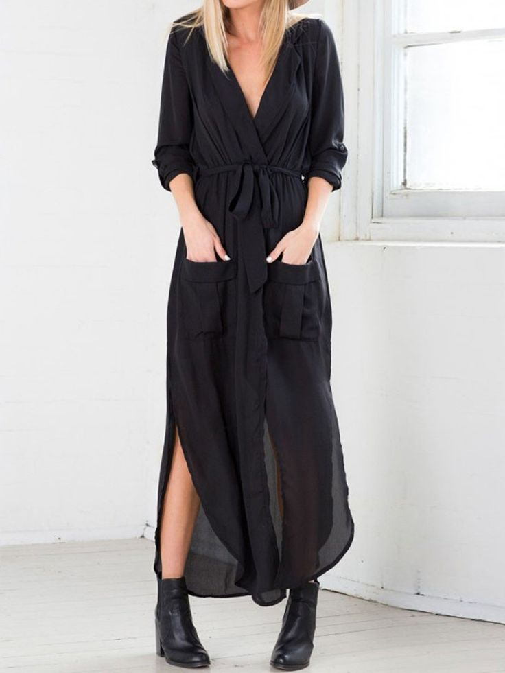Black, Bow Tie, Side Split, Pocket, Wrap, Ruched Dress, Maxi Dress