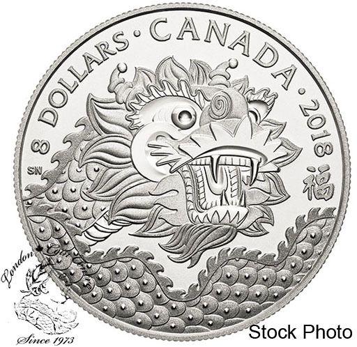 London Coin Centre Inc. - Canada: 2018 $8 Dragon Luck Fine Silver Coin, $29.95 (http://www.londoncoincentreinc.com/canada-2018-8-dragon-luck-fine-silver-coin/)