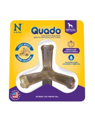 DOG TREATS - ALL OTHER - QUADO DOG CHEW PUMPKIN LARGE - USA - 7OZ - NATURAL POLYMER - UPC: 657546115097 - DEPT: DOG PRODUCTS