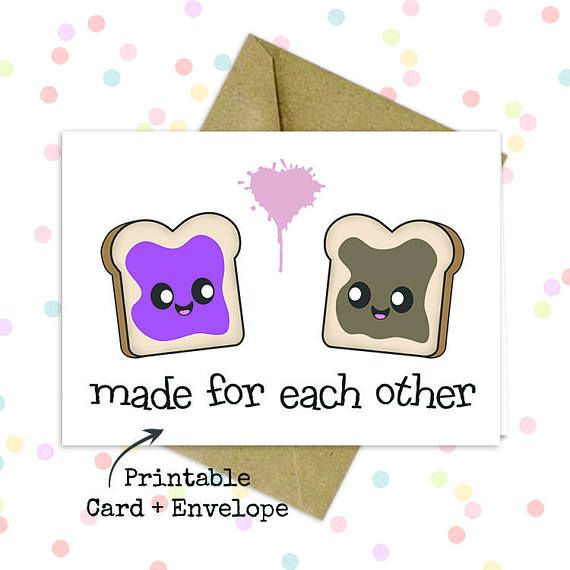 ~PRINTABLE CARD and ENVELOPE~ Need a card immediately? No problem! This listing includes not only a printable card but a printable envelope as well. Buy, Print, Send, Done!      Cute husband card/ Cute anniversary card/ Kawaii valentine/ Cute card for him/ Card for boyfriend/ Cute card for him/ Card for best friend