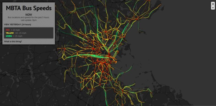 """map showing bus speeds.  Interesting color scheme with dark background and neon data.  adds """"life"""""""