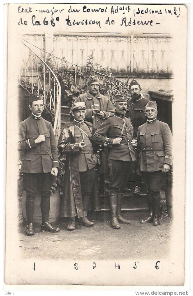 WWI, French Major and Officers. -Sous Lieutenant Garros Photo Guerre 14/18 Et Officiers De La 68 Eime Division De Réserve