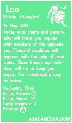 Leo Daily horoscope for 15th May 2014.