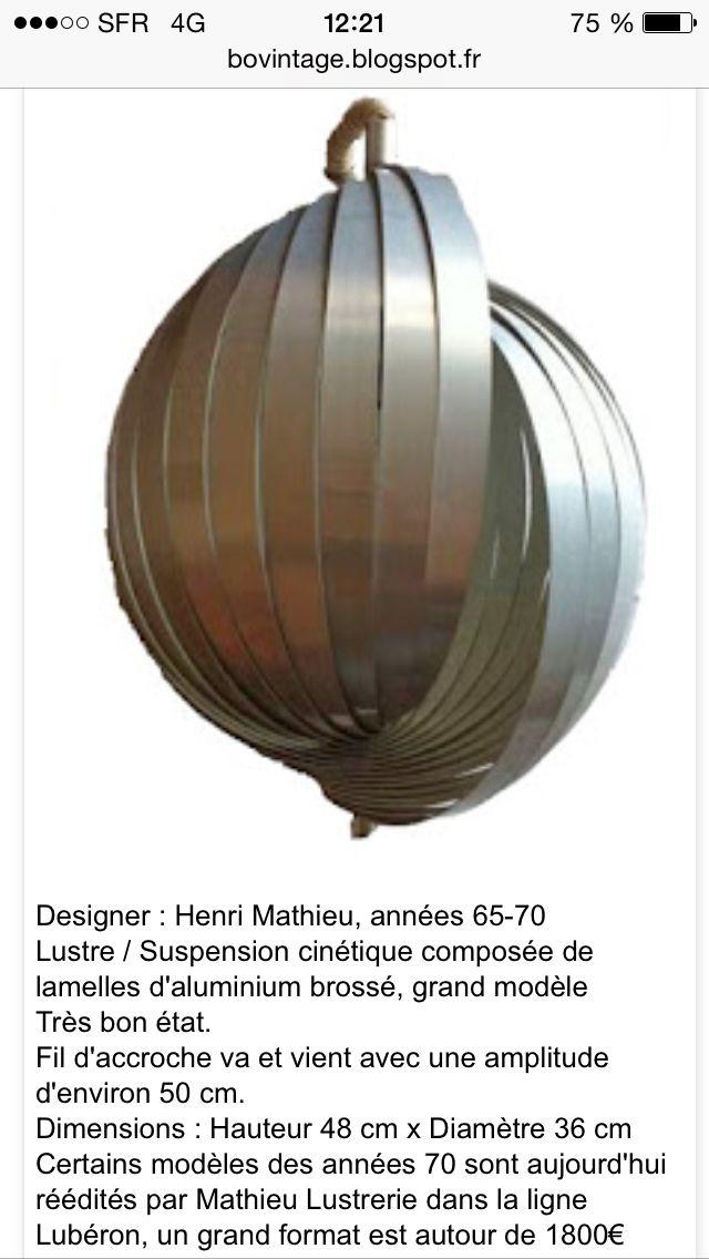 Suspension métal Henri Mathieu. Circa 70.