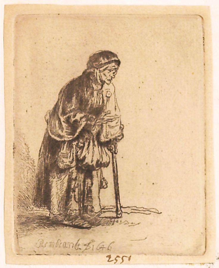 """Bătrână cerșetoare, 1646, semnată și datată stânga jos: Rembrandt f. 1646. Imagine din colecțiile Bibliotecii """"V.A. Urechia"""" Galați."""