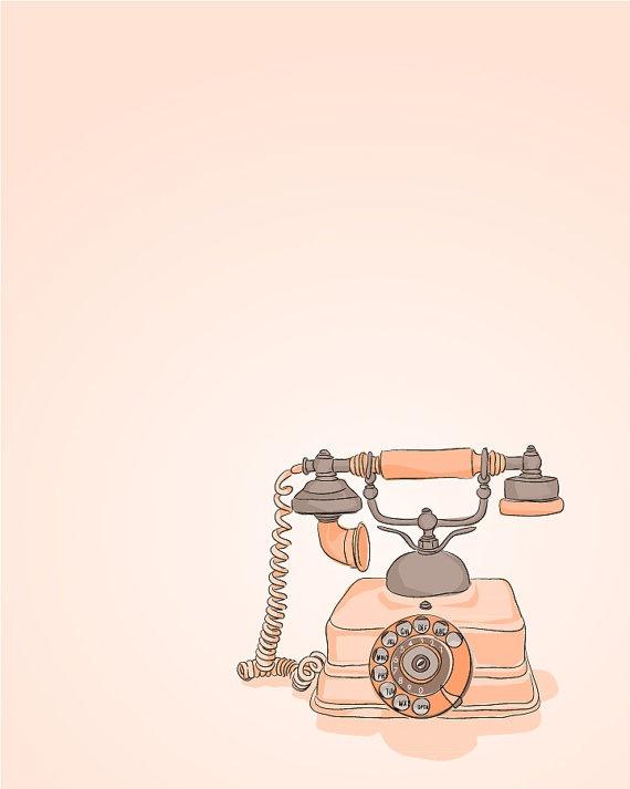 Coral Pink Vintage Phone  Illustration  5 x 7 by DieselAndJuice, $7.00