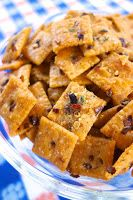 Fire Crackerz 1/2 cup canola oil 1 (1-oz) package Ranch dressing mix 3-5 tsp red pepper flakes 1 (13.7oz) box Cheez-Its  Preheat oven to 250.  In a large bowl, mix together all ingredients.  Spread crackers on large rimmed baking sheet.  Bake for 15-20 minutes, stirring halfway through.  Cool and store in resealable bag.