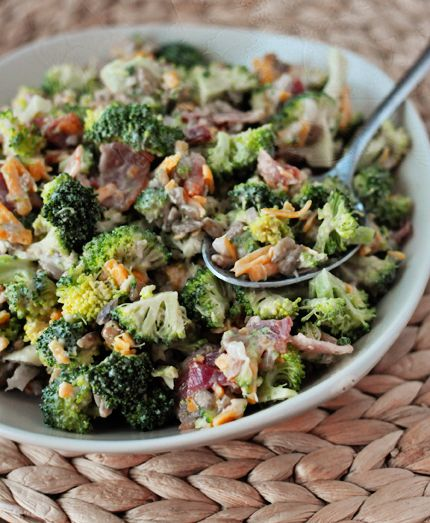 The Best Broccoli Salad INGREDIENTS  Dressing: 3/4 cup light or regular mayonnaise 1/4 cup granulated sugar 1 tablespoon balsamic vinegar Salad: 1 1/2 pounds fresh broccoli, chopped into small bite-sized pieces 1 cup golden raisins (optional) 3/4 cup sunflower seeds 1 small shallot or red onion, finely diced (about 1/4 cup) 1 cup shredded sharp cheddar cheese 6 slices bacon, cooked and crumbled
