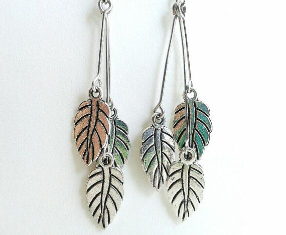 Leaf Charms Suspended on Wire Branches Earrings by ofRingAndScale