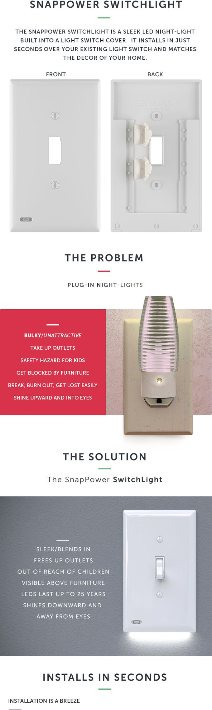 Led night light kickstarter - Jeremy Smith Is Raising Funds For Instantly Turn Your Lightswitch Into An Automatic Nightlight On Kickstarter The Snappower Switchlight Is A Light Switch