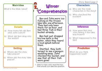 Winter Story Boards with Comprehension Questions: - Main Idea - Details - Characters - Setting - Inference & Prediction.Students and clients will love working on comprehension skills embedded in winter-themed stories. Suitable for K-3 (or older for children with language impairment).