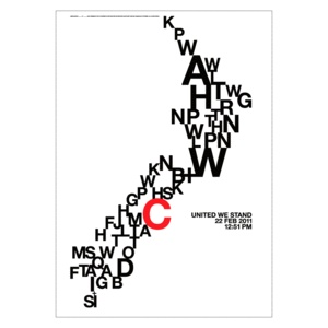in the wake of the Christchurch earthquake.   Ratio creative director Peter Oxley. Result: NZ as a typographic map, illustrating cities, towns and other geographical points as letters of the alphabet (Christchurch is marked in red).