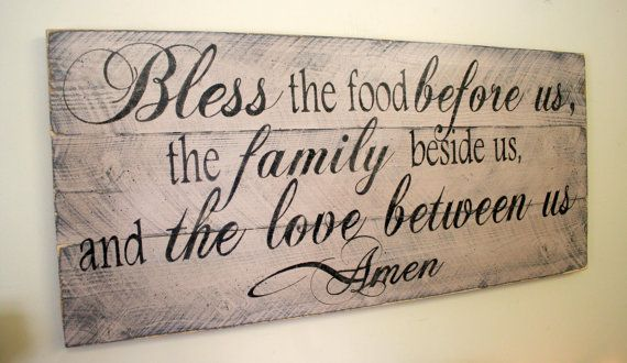Bless The Food Before Us Kitchen Sign Dining Room Sign Shabby Chic Pallet Sign Rustic Chic Home Decor Distressed Wood Tan Wallhanging
