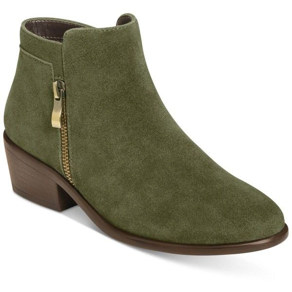 Aerosoles Mythology Booties ($129) ❤ liked on Polyvore featuring shoes, boots, ankle booties, dark green suede, suede leather boots, dark green boots, aerosoles, aerosoles boots and suede booties
