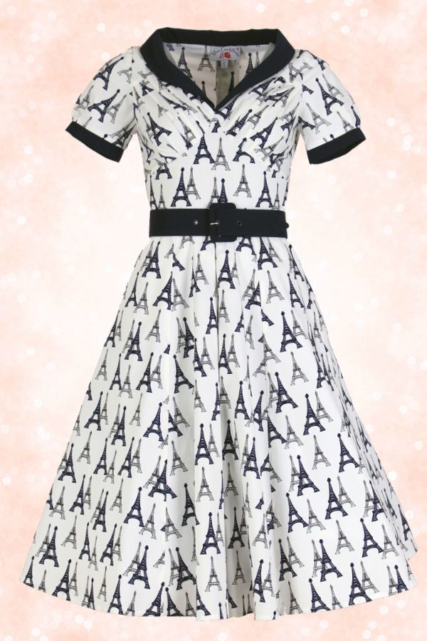 Robe vintage imprimée Tour Eiffel - Retro style dress Nathalia Paris by Miss Candyfloss in dark blue and ivory ♥ MissRetroChic.com glamour & vintage online boutique ♥