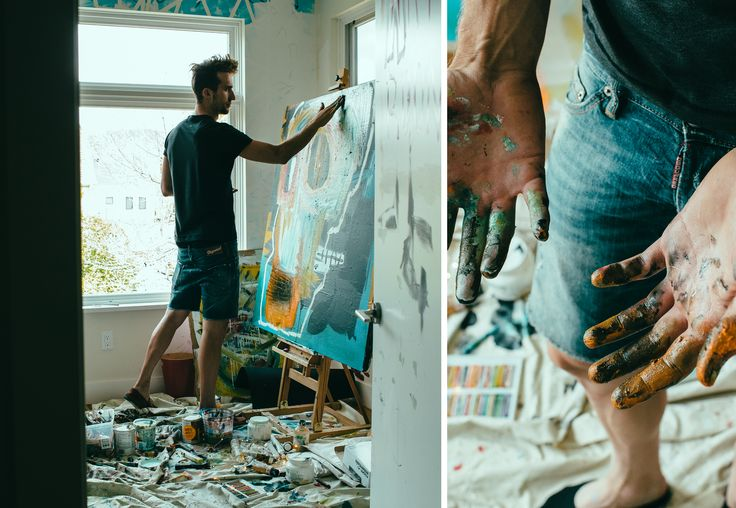 left: Taylor Phinney painting; right: hands covered in paint