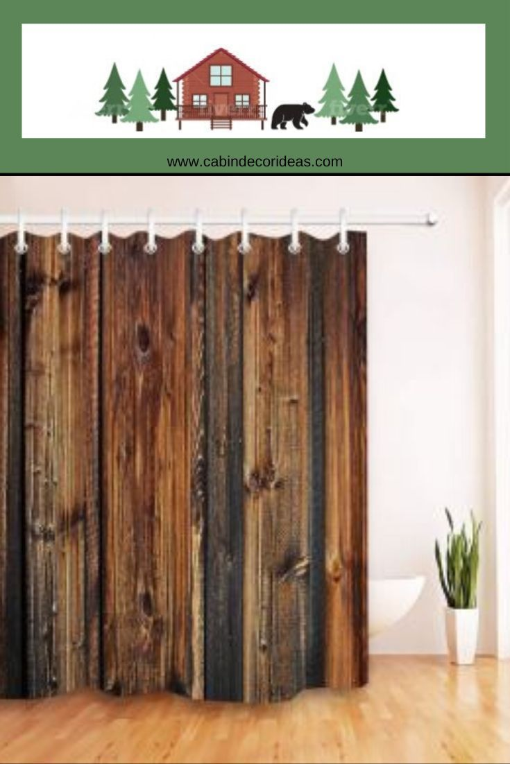 Brown Wood Look Shower Curtain In 2020 Bear Bathroom Decor