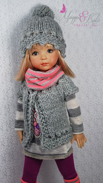 Doll's Knitted Winter Outfit / Hat & Vest / Knitting