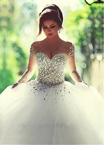 Angel Formal Dresses Women's Beading Rhinestone Tulle Wedding Dresses for Brides | Amazon.com