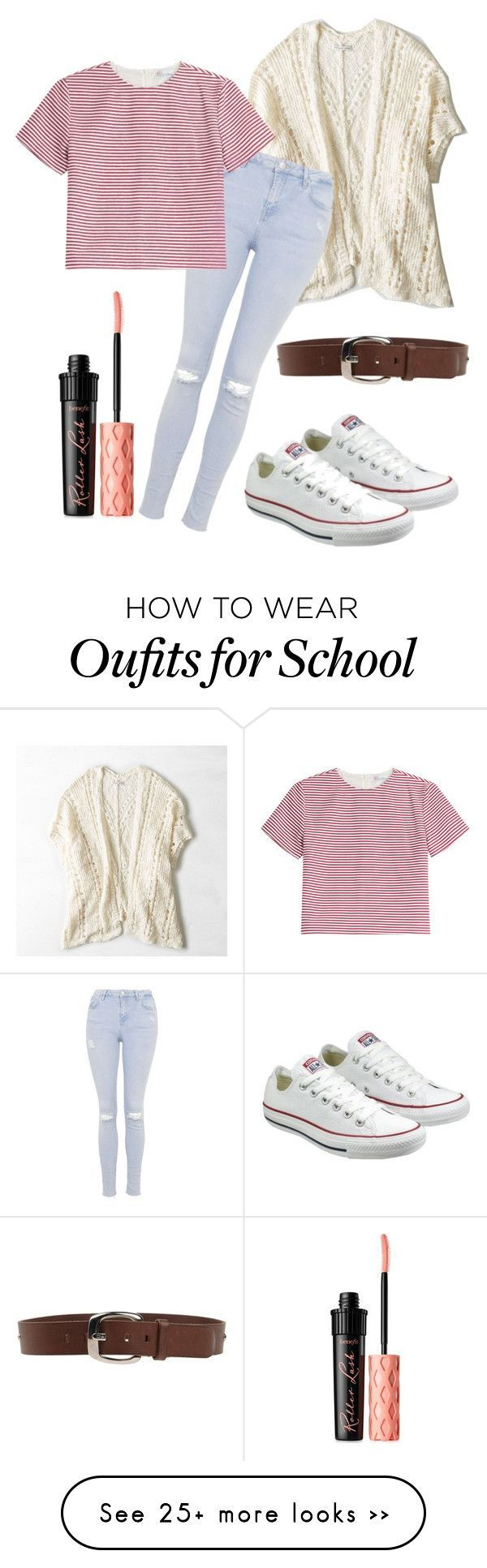 First day of school outfit by eemaj on Polyvore featuring American Eagle Outfitters, Topshop, RED Valentino, DG, Converse and Benefit