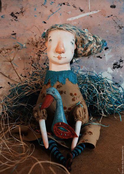 Коллекционные куклы ручной работы. Ярмарка Мастеров - ручная работа. Купить Агата и гусь. Handmade. Бежевый, кукла интерьерная, опилки