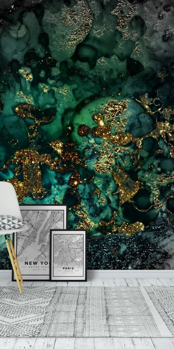 Green And Gold Malachite Marble Wall Mural From Happywall Shiny Wallmural Terrazzo Simple Gran Gold Interior Design Marble Wall Mural Gold Green Wallpaper