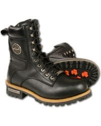 Milwaukee Leather Men's Lace To Toe Logger Boots - Round Toe, Black