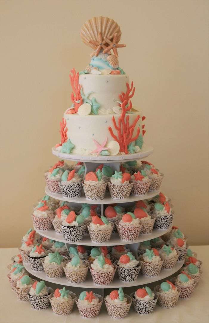 beach themed cupcake wedding