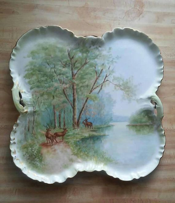 Antique Rare Charles Field Haviland Limoges hand painted deer tray unusual…