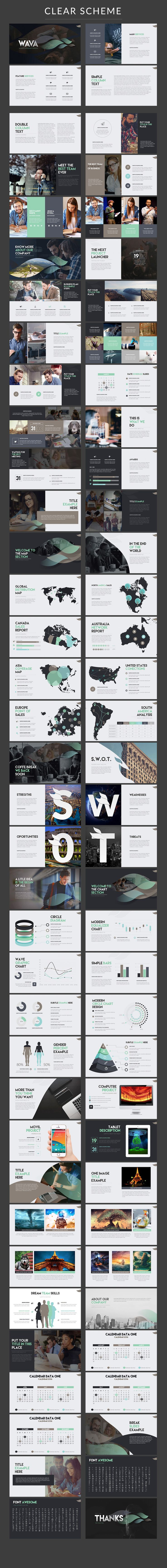 Elegantly modern PowerPoint presentation template with inforgraphics and both a…