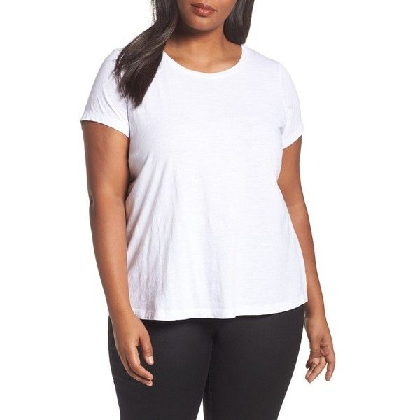 Plus Size Women's Eileen Fisher Organic Cotton Tee ($88) ❤ liked on Polyvore featuring plus size women's fashion, plus size clothing, plus size tops, plus size t-shirts, plus size, white, plus size white tops, organic cotton white t shirt, women's plus size graphic tees and women's plus t shirts