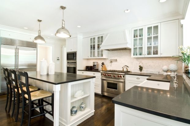 Transitional Island Style White kitchen, white cabinets